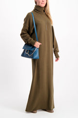 Full Body Image Of Model Wearing Extreme Cashmere Maxi Dress Brown