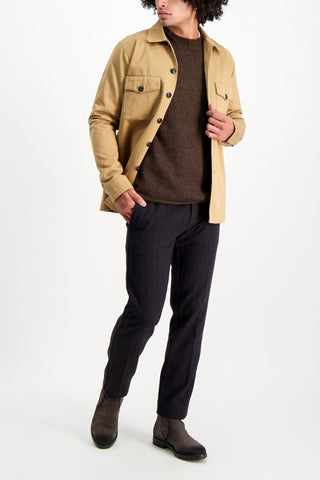 Full Body Image Of Model Wearing Canvas Military Jacket