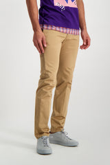 Front Crop Image Of Model Wearing Fortela Chino Pant Camel