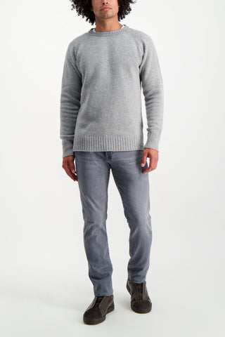 Full Body Image Of Model Wearing Crew Sweater Heather Grey