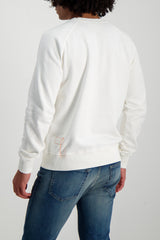 Back Crop Image Of Model Wearing Fortela Crew Sweatshirt White