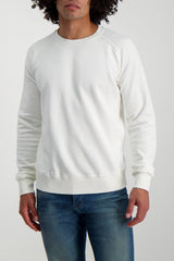 Front Crop Image Of Model Wearing Fortela Crew Sweatshirt White