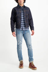 Full Body Image Of Model Wearing Fortela Jean Jacket Blue