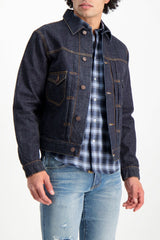 Front Crop Image Of Model Wearing Fortela Jean Jacket Blue