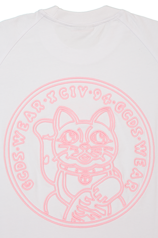 Back Cat Coin Detail Short Sleeve Cat Coin Tee White