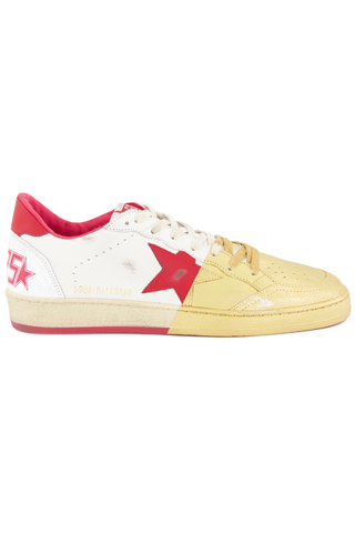 Side view image Golden Goose Men's Ball Star Sneaker White/Red/Gold