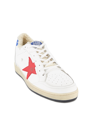 Front angled view image of Golden Goose Ball Star Low Top Sneaker White Shearling