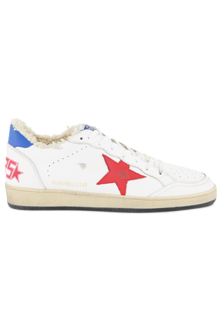 Side view of Golden Goose Ball Star Low Top Sneaker White Shearling