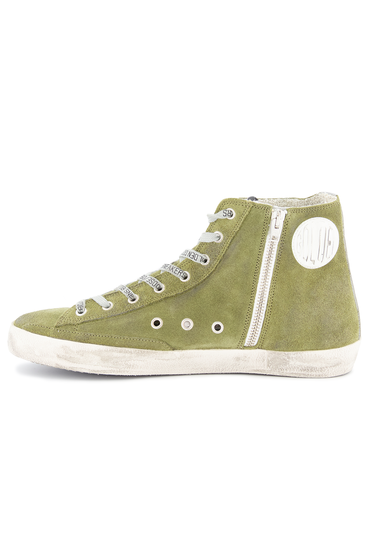 Instep side view image of Golden Goose Men's Francy High Top Sneaker Military Green