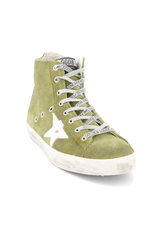 Front angled view image of Golden Goose Men's Francy High Top Sneaker Military Green