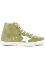 Side view image of Golden Goose Men's Francy High Top Sneaker Military Green