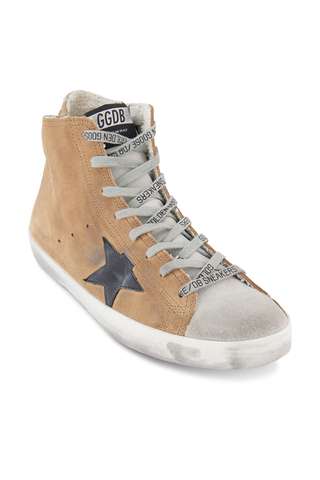 Angle Image of Golden Goose Men's Francy High Top Sneakers Sand Fringes
