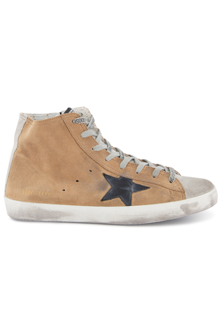 Front Image of Golden Goose Men's Francy High Top Sneakers Sand Fringes