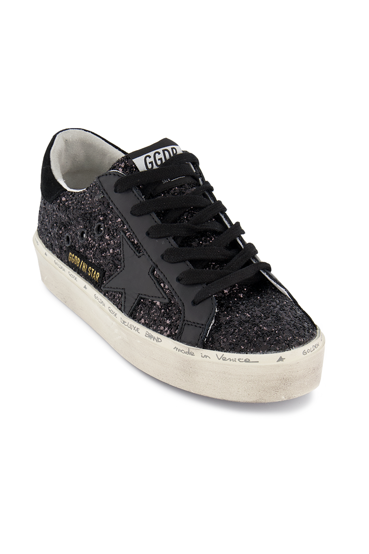 Lace Detail Image of Golden Goose Hi Star Sneaker Black Glitter