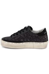 Medial Side Image of Golden Goose Hi Star Sneaker Black Glitter