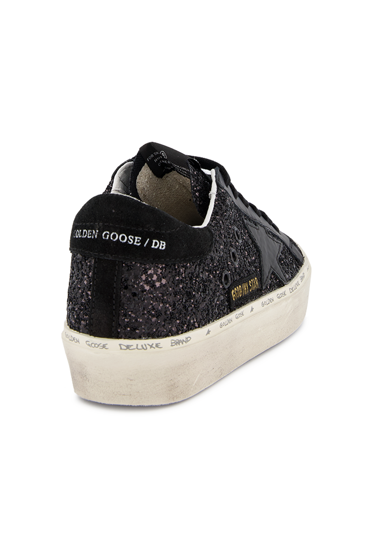 Heel Detail Image of Golden Goose Hi Star Sneaker Black Glitter