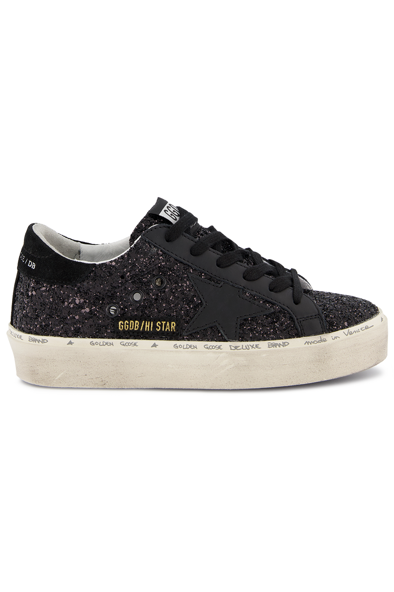 Front Image of Golden Goose Hi Star Sneaker Black Glitter
