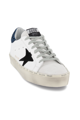 Front angled view image of Golden Goose Women's Hi Star Sneaker White/Blue Glitter