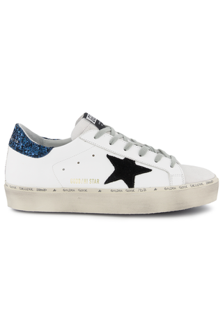 Side view image of Golden Goose Women's Hi Star Sneaker White/Blue Glitter