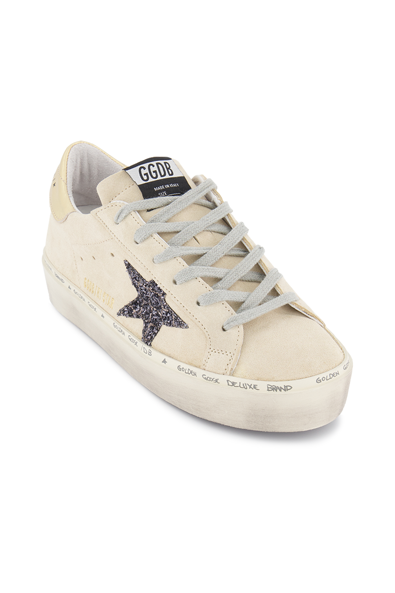 Angle Image of Golden Goose Women's Hi Star Sneaker Pearl Suede