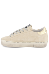 Medial Side Image of Golden Goose Women's Hi Star Sneaker Pearl Suede