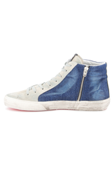 Instep side view of Golden Goose Men's Slide High Top Sneaker Blue Denim