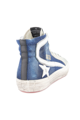 Back angled view image of Golden Goose Men's Slide High Top Sneaker Blue Denim