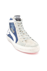 Front angled view of Golden Goose Men's Slide High Top Sneaker Blue Denim