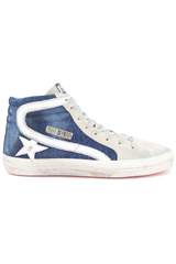 Side view image of Golden Goose Men's Slide High Top Sneaker Blue Denim