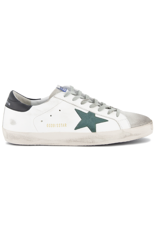 Side view detail image of Golden Goose Men's Superstar Sneakers White/Pine Green