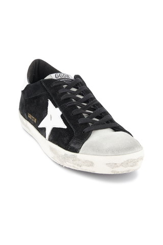 Front angled view image of Golden Goose Men's Superstar Low Top Sneakers Black Suede