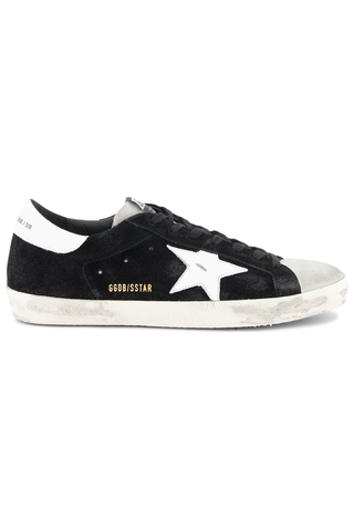 Side view image of Golden Goose Men's Superstar Low Top Sneakers Black Suede