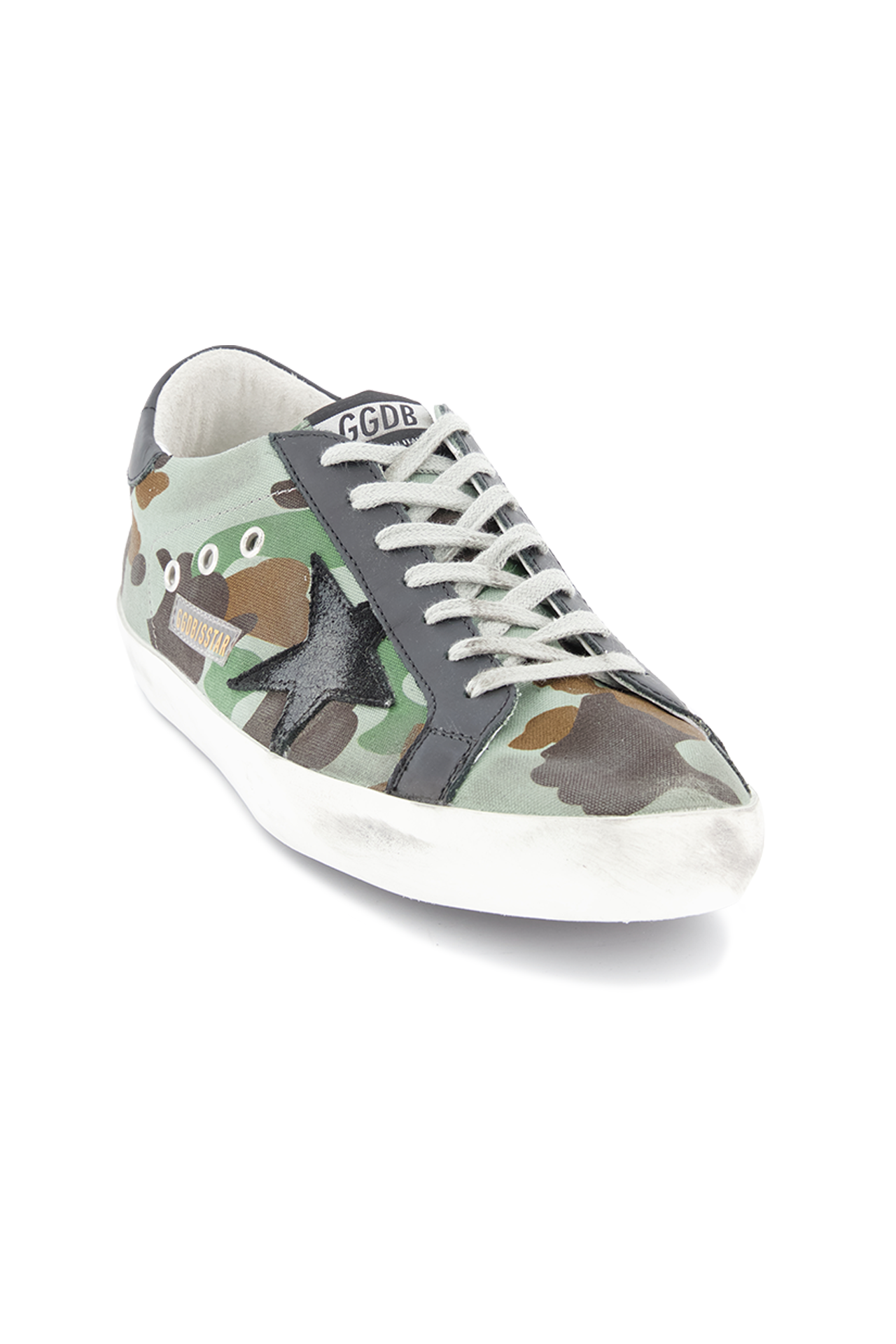 Front angled view image of Golden Goose Men's Superstar Low Top Sneakers Camouflage
