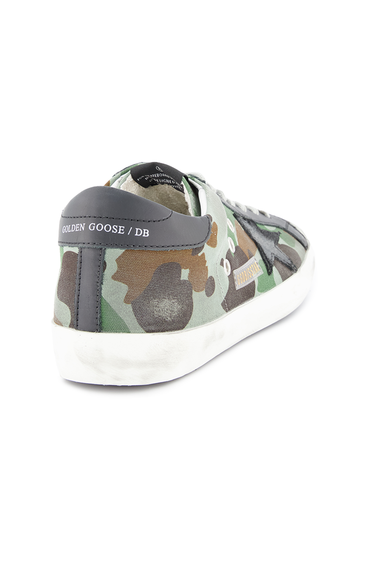 Back angled view image of Golden Goose Men's Superstar Low Top Sneakers Camouflage