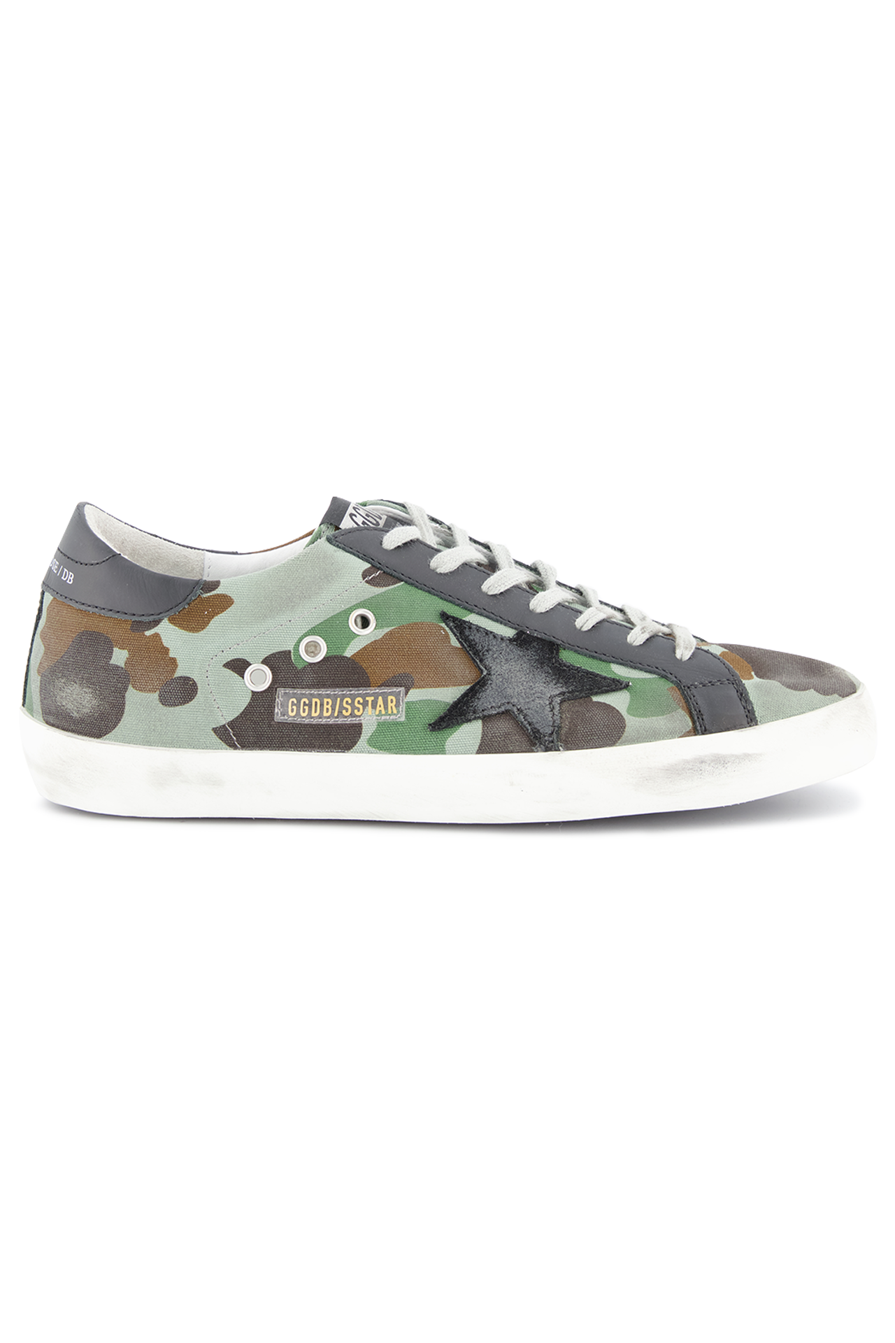 Side view image of Golden Goose Men's Superstar Low Top Sneakers Camouflage
