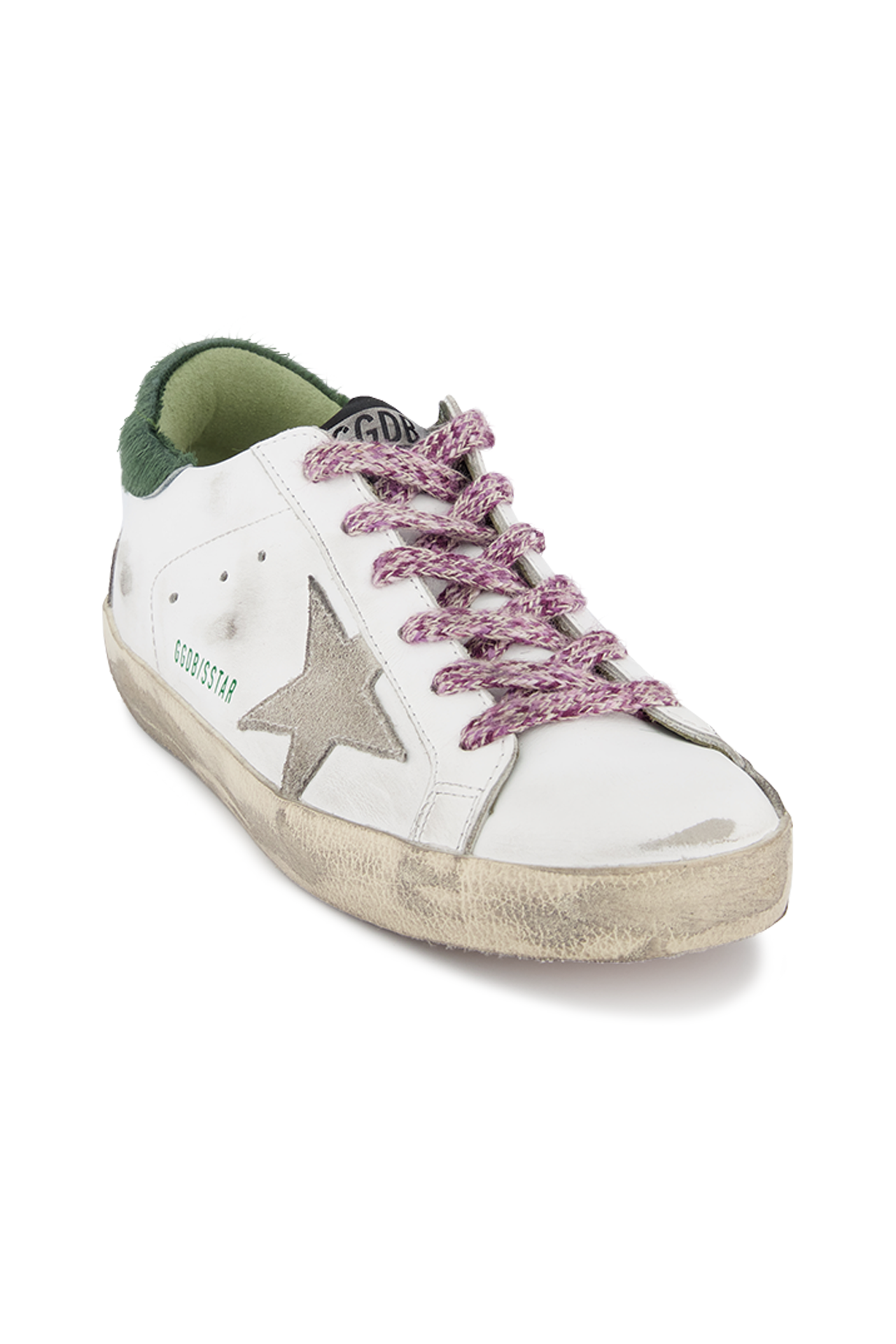 Front angled view image of Golden Goose Women's Superstar Sneaker White/Green