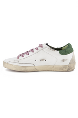 Instep side view image of Golden Goose Women's Superstar Sneaker White/Green
