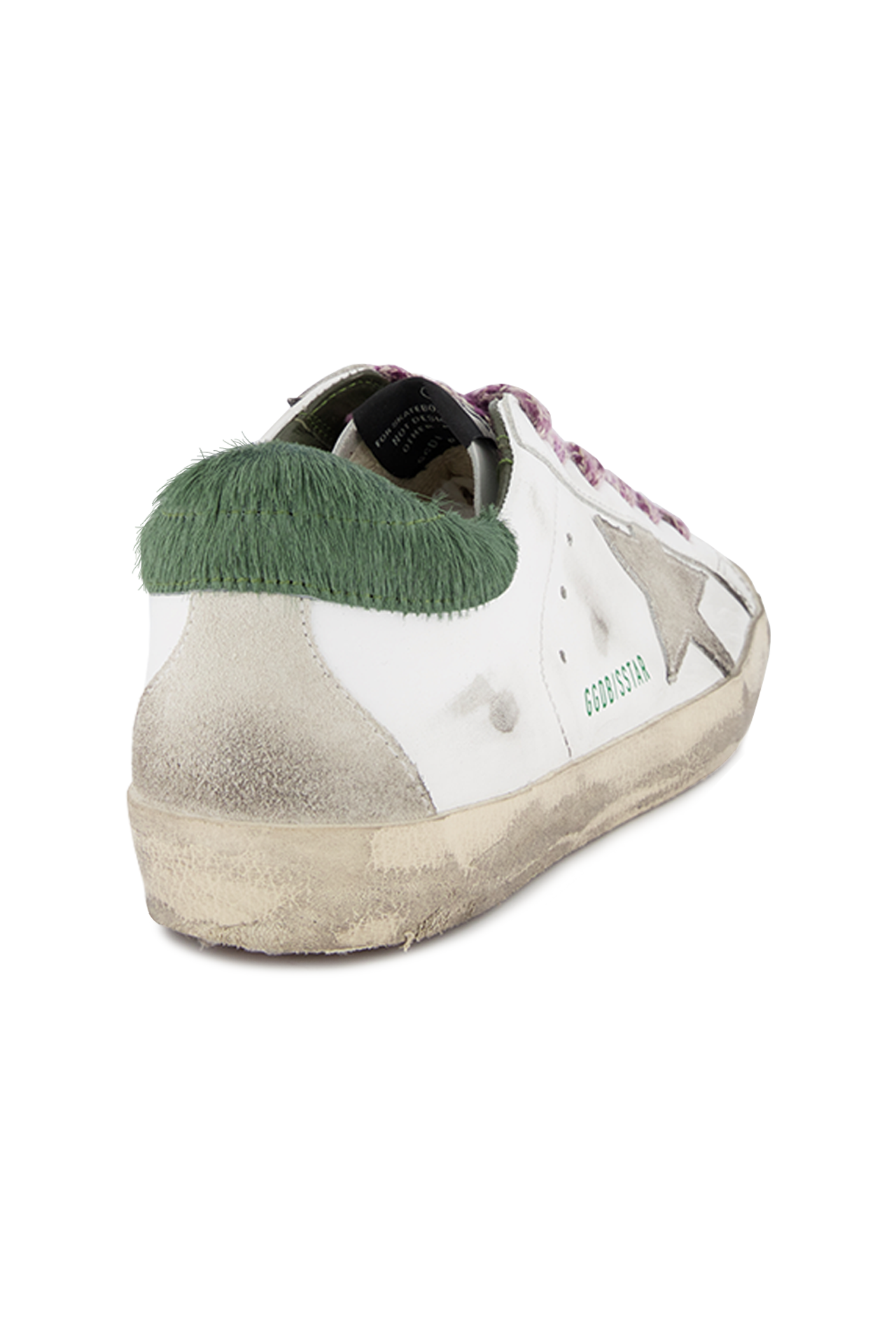 Back angled view image of Golden Goose Women's Superstar Sneaker White/Green