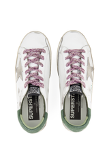 Top view image of Golden Goose Women's Superstar Sneaker White/Green