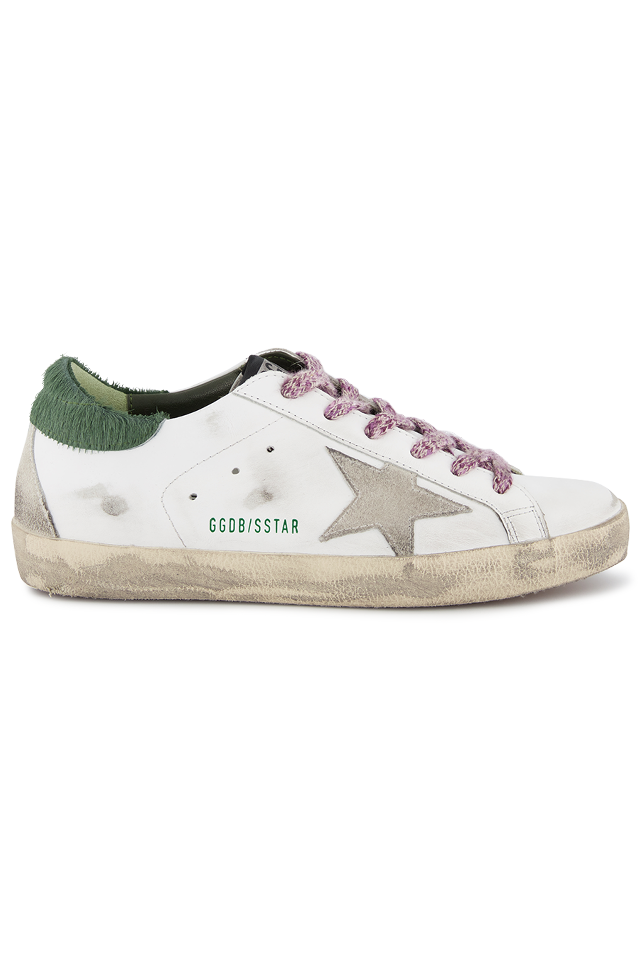 Side view image of Golden Goose Women's Superstar Sneaker White/Green