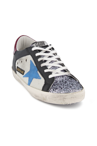 Front angled view image of Golden Goose Women's Superstar Sneaker Silver Net