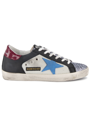 Side view image of Golden Goose Women's Superstar Sneaker Silver Net