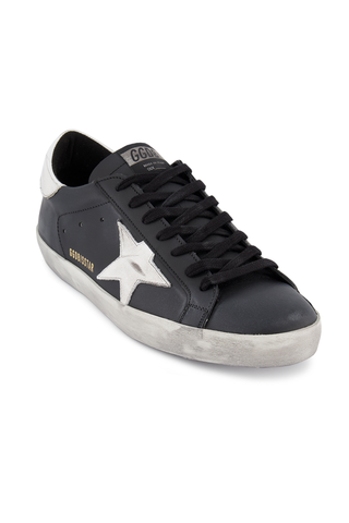 Front angled view image of Golden Goose Men's Superstar Sneaker Black