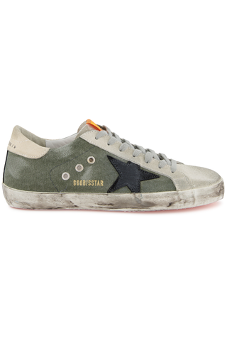 Superstar Sneaker Green Canvas/Black Suede