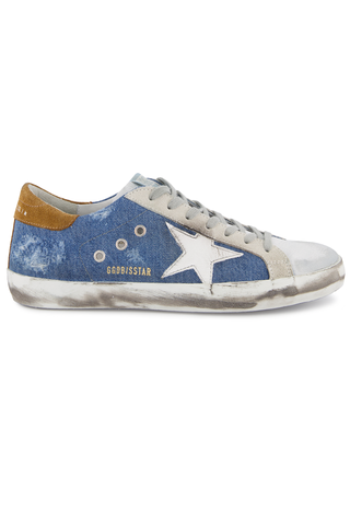 Side view image of Golden Goose Men's Superstar Sneaker Light Blue