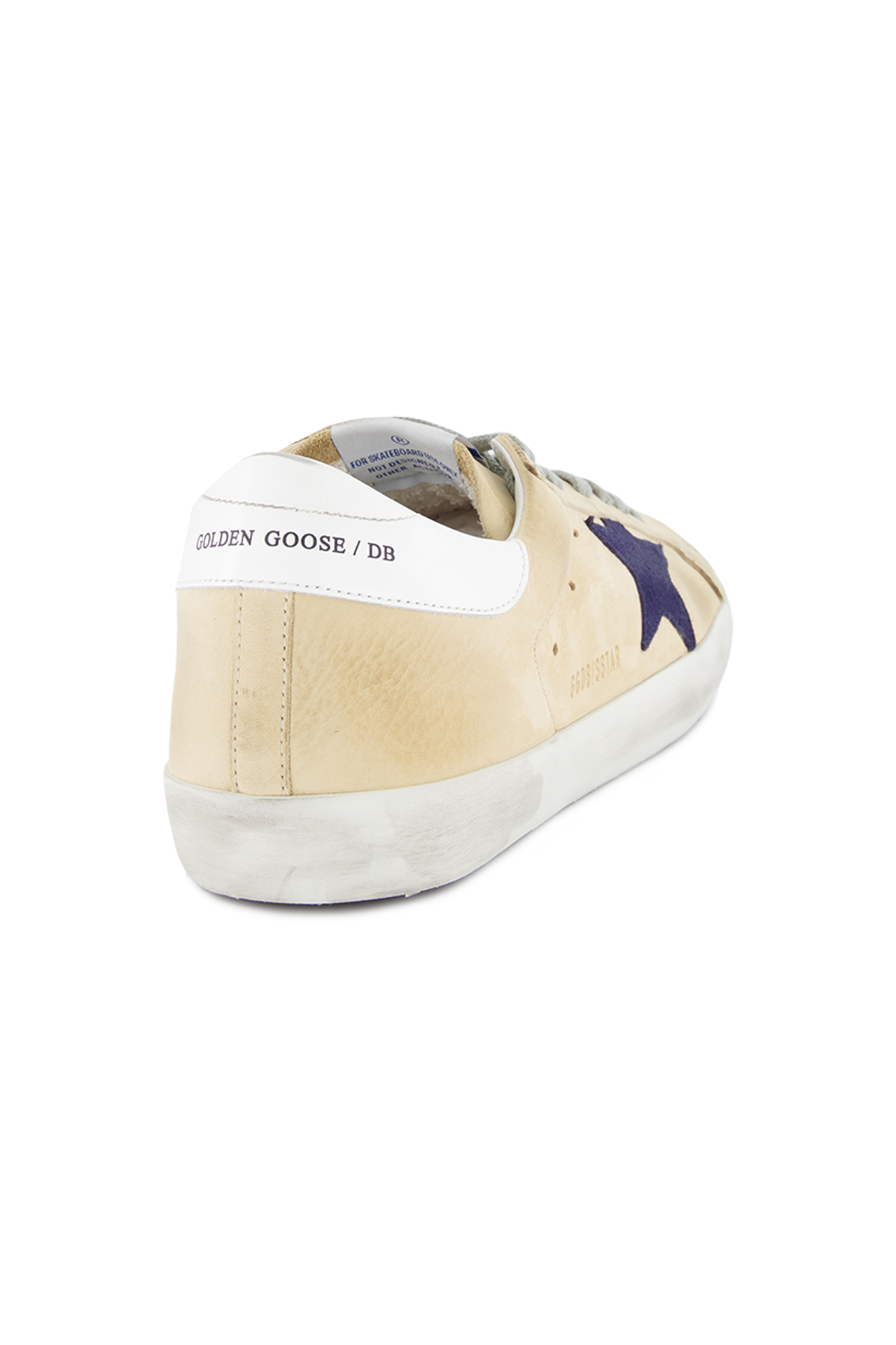 Back angled view image of Golden Goose Men's Superstar Low Top Sneakers Cream Nabuk