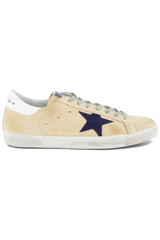 Side view of Golden Goose Men's Superstar Low Top Sneakers Cream Nabuk