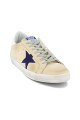 Front angled view of Golden Goose Men's Superstar Low Top Sneakers Cream Nabuk