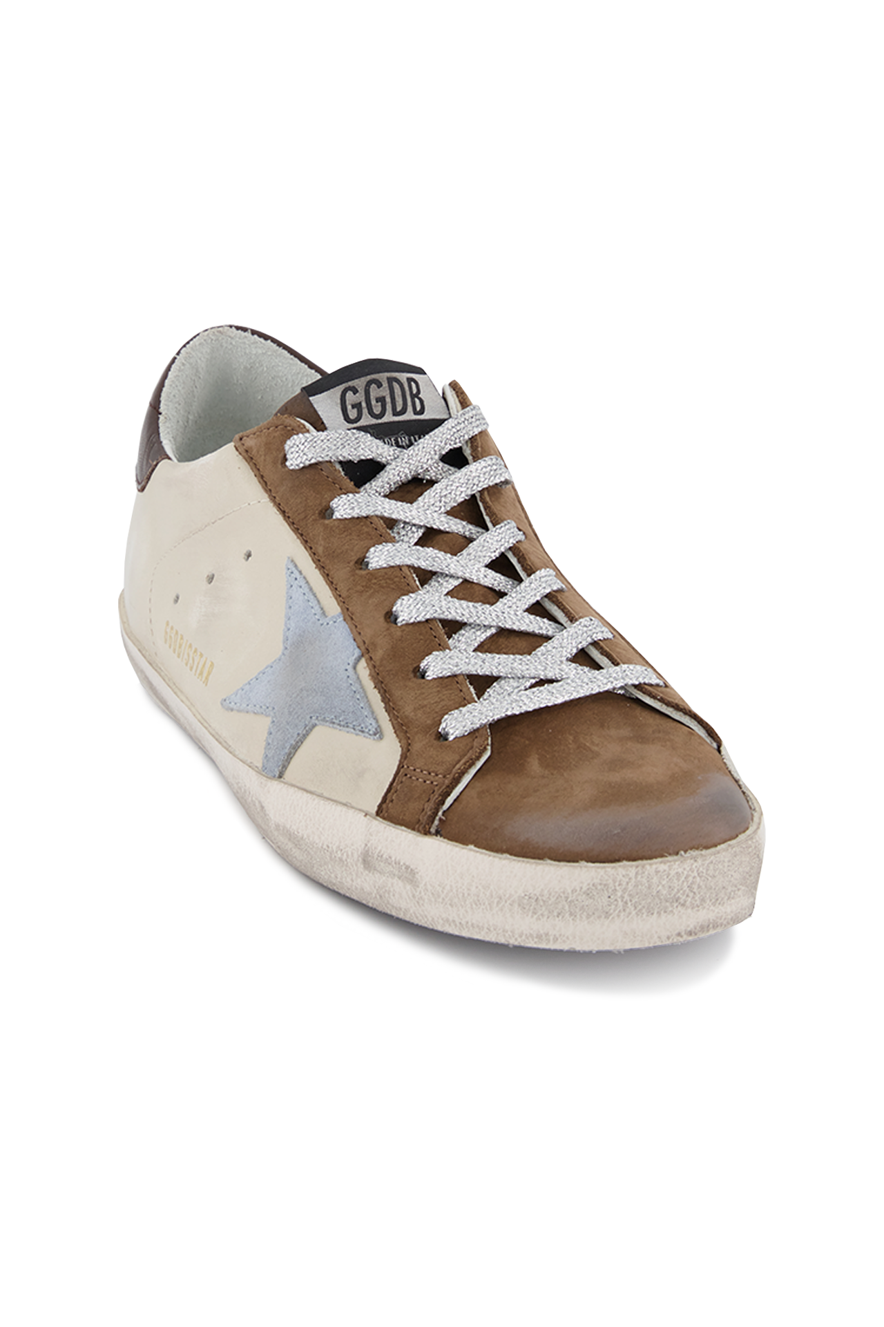 Angled view image of Golden Goose Women's Superstar Sneaker White/Brown