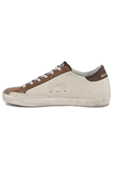 Instep side view image of Golden Goose Women's Superstar Sneaker White/Brown